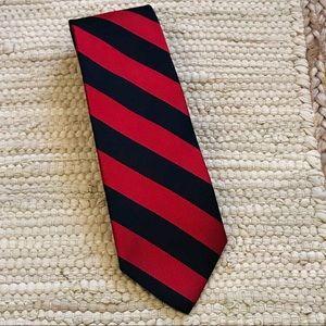 Lands' End Navy Blue Red Striped Tie Silk